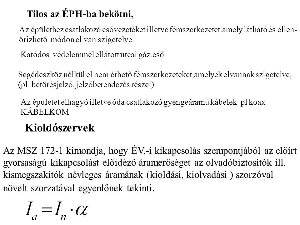 Kioldószervek Tilos az ÉPH-ba bekötni,