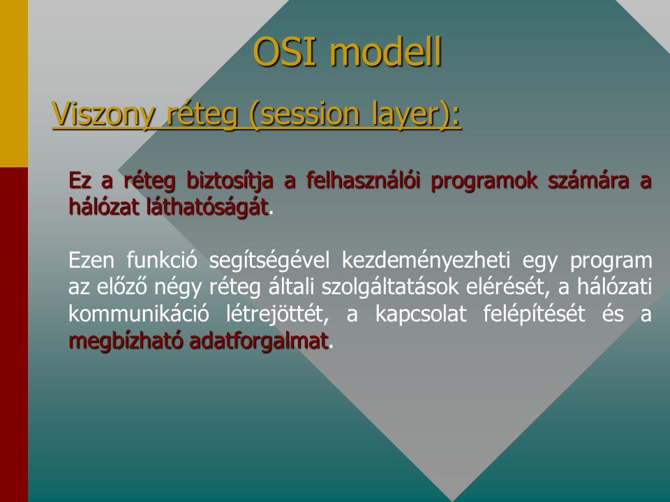 OSI modell Viszony réteg (session layer):