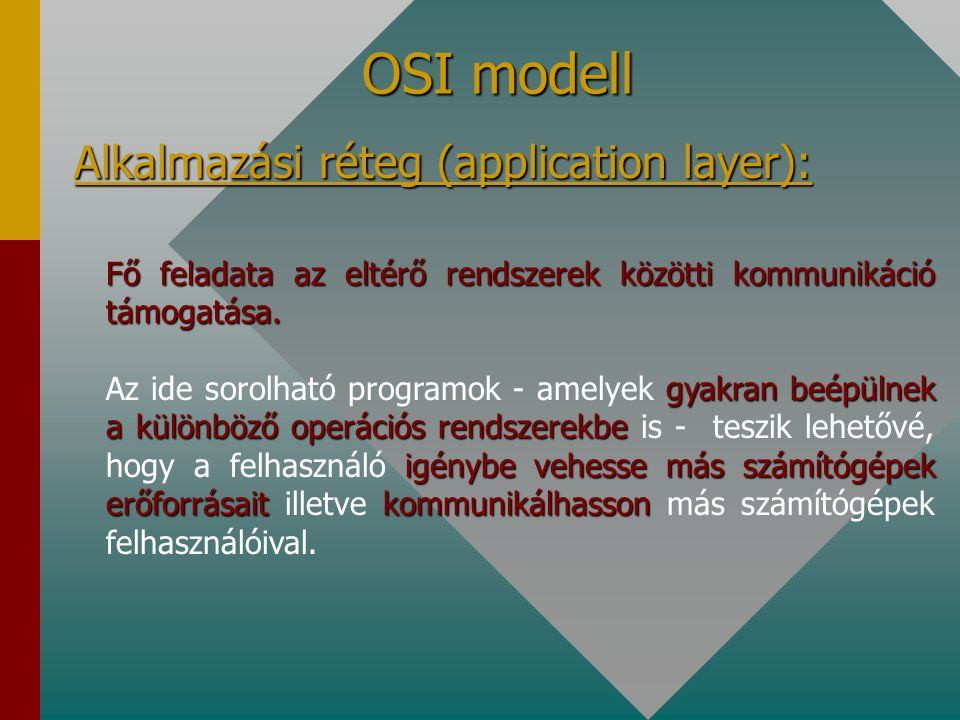 OSI modell Alkalmazási réteg (application layer):