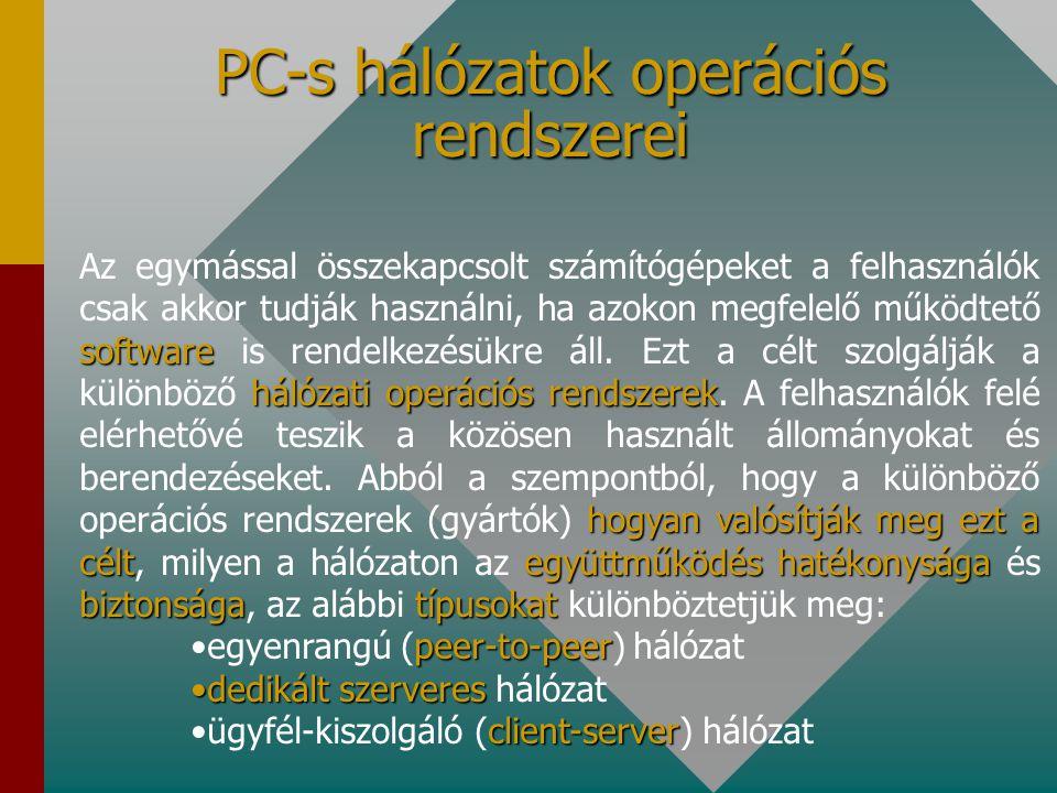 PC-s hálózatok operációs rendszerei