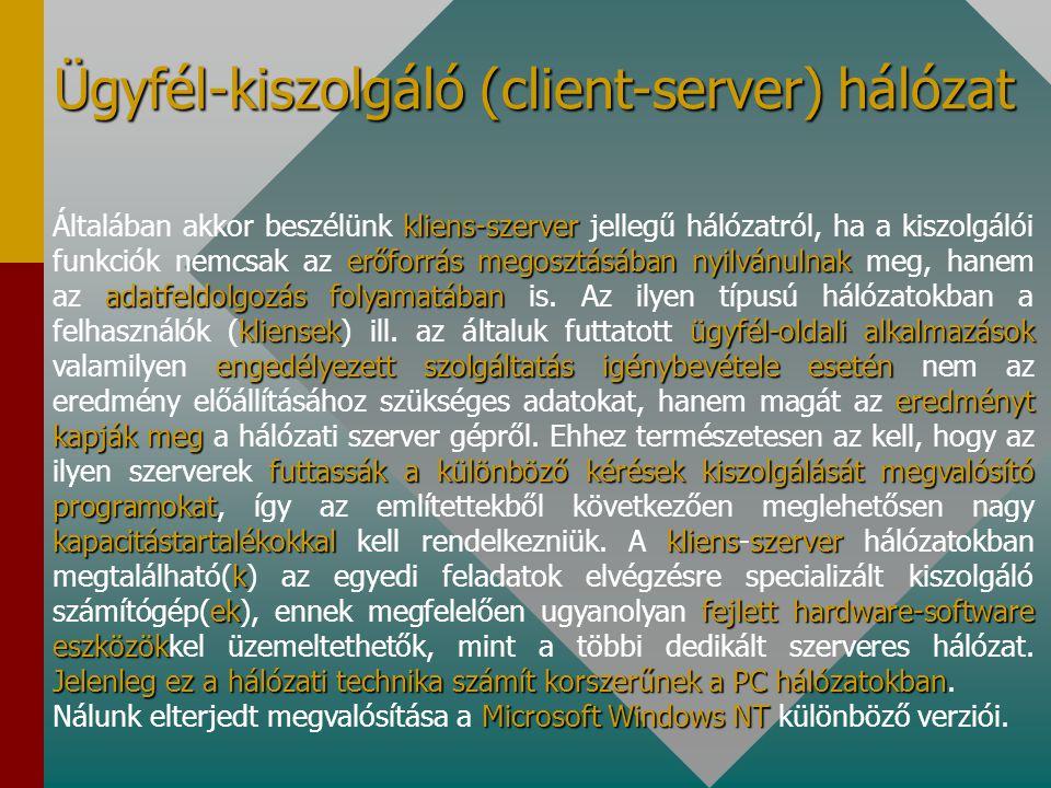 Ügyfél-kiszolgáló (client-server) hálózat