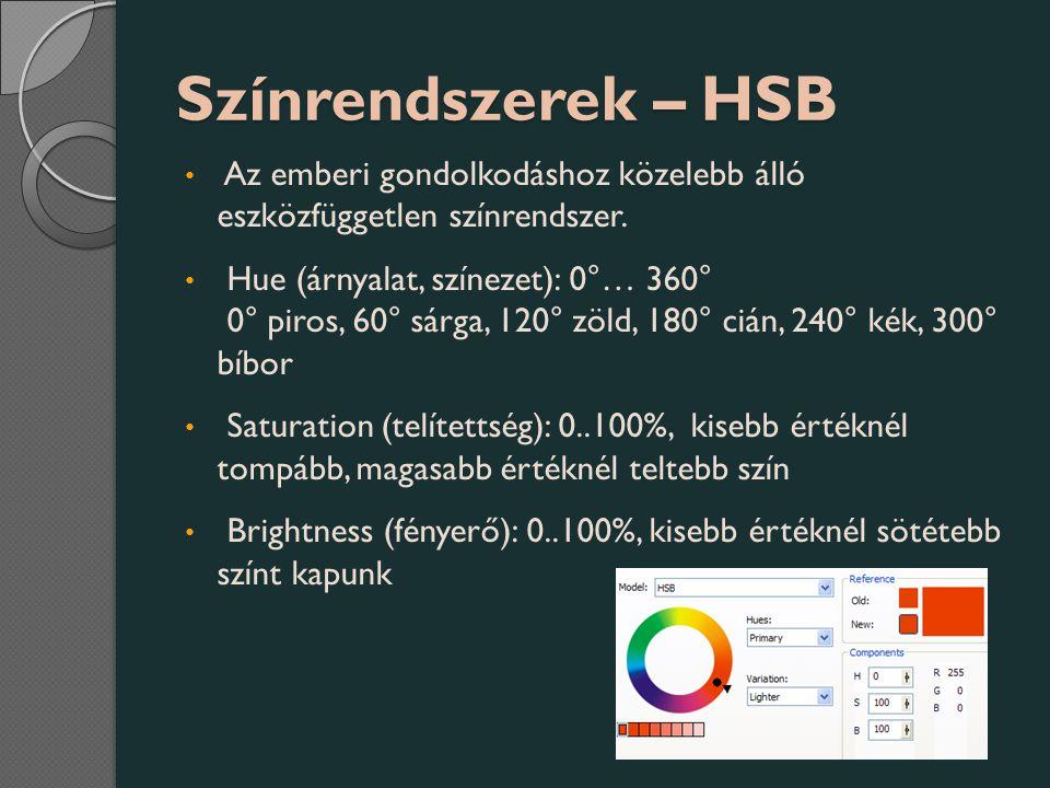 Színrendszerek – HSB Az emberi gondolkodáshoz közelebb álló eszközfüggetlen színrendszer.