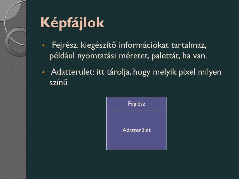 Képfájlok Fejrész: kiegészítő információkat tartalmaz, például nyomtatási méretet, palettát, ha van.