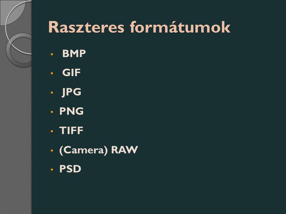 Raszteres formátumok BMP GIF JPG PNG TIFF (Camera) RAW PSD