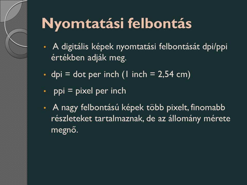 Nyomtatási felbontás A digitális képek nyomtatási felbontását dpi/ppi értékben adják meg. dpi = dot per inch (1 inch = 2,54 cm)