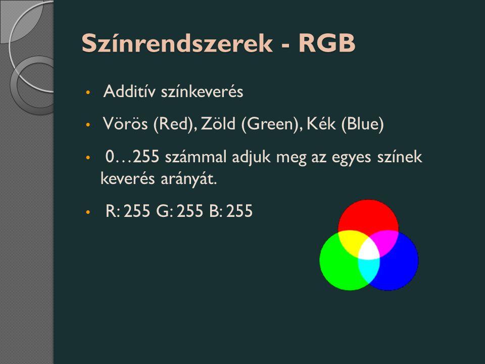 Színrendszerek - RGB Additív színkeverés