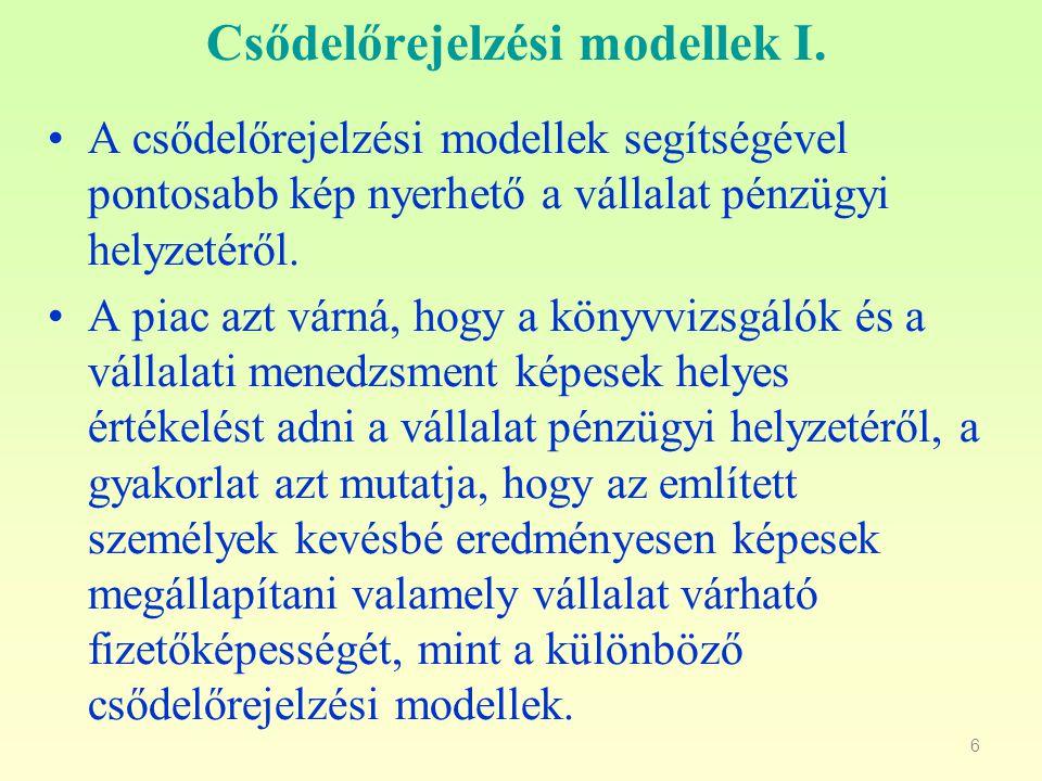 Csődelőrejelzési modellek I.