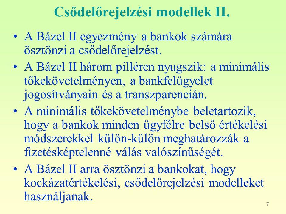 Csődelőrejelzési modellek II.