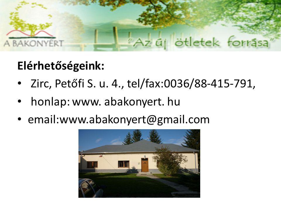Elérhetőségeink: Zirc, Petőfi S. u. 4., tel/fax:0036/88-415-791, honlap: www.