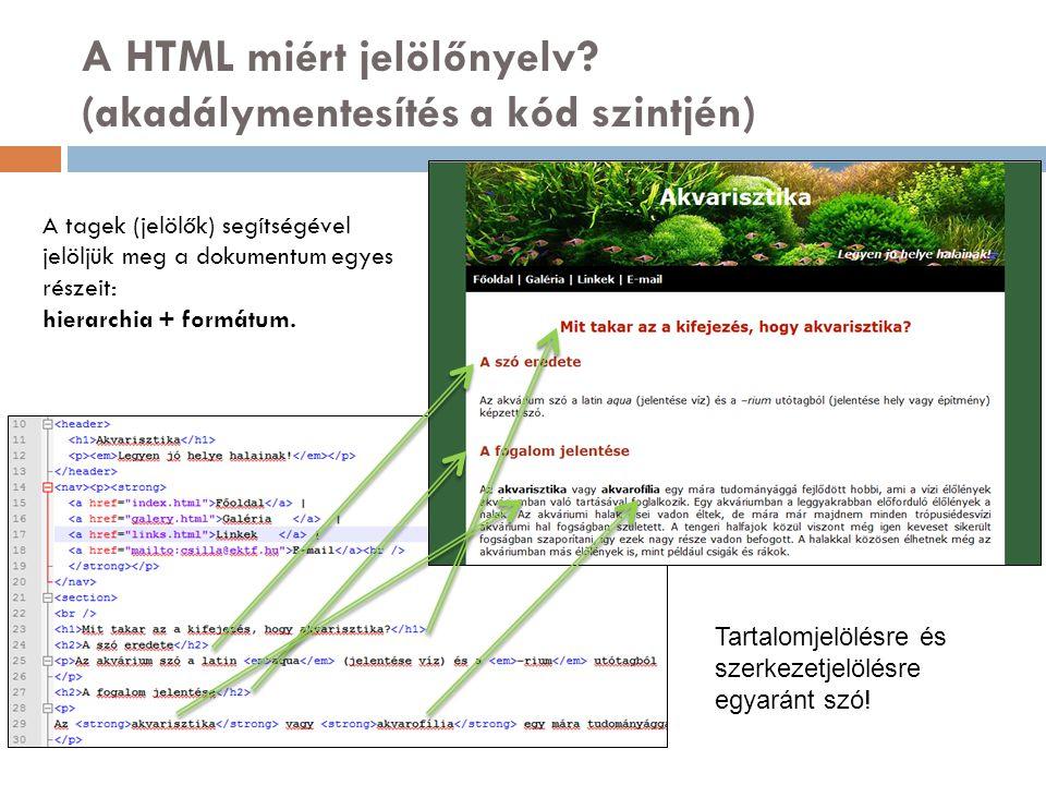 A HTML miért jelölőnyelv (akadálymentesítés a kód szintjén)