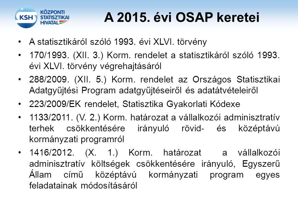 A 2015. évi OSAP keretei A statisztikáról szóló 1993. évi XLVI. törvény.