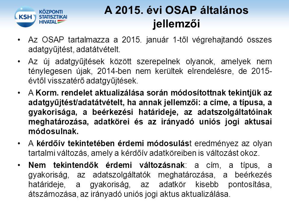 A 2015. évi OSAP általános jellemzői