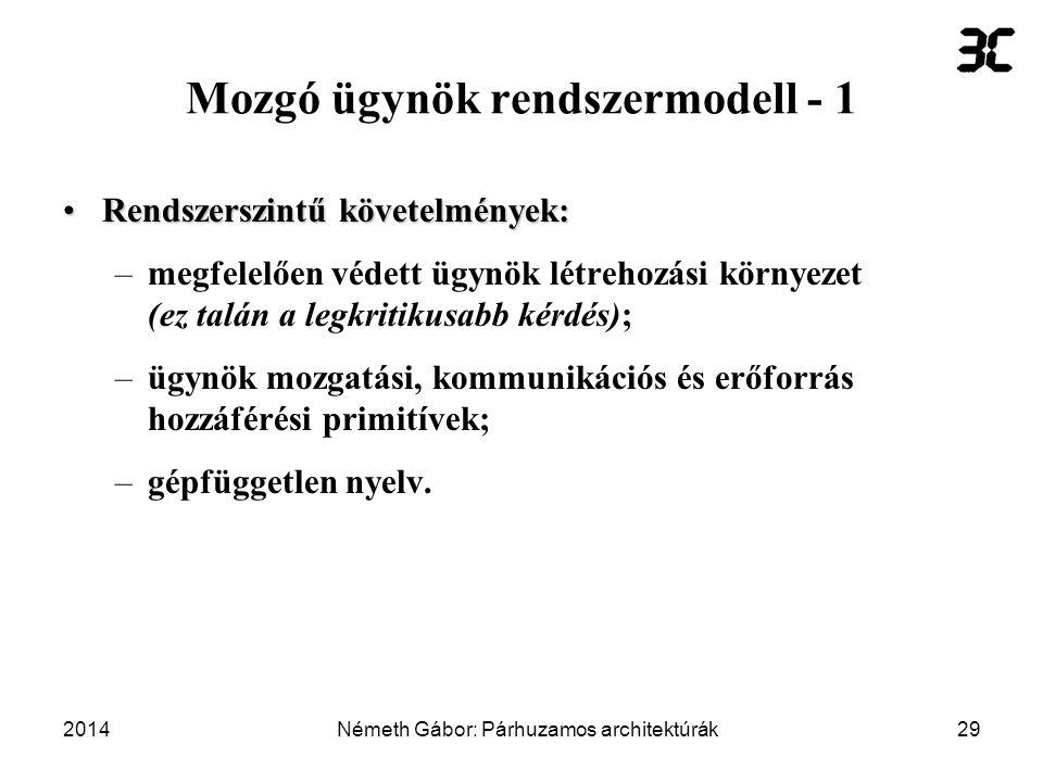 Mozgó ügynök rendszermodell - 1