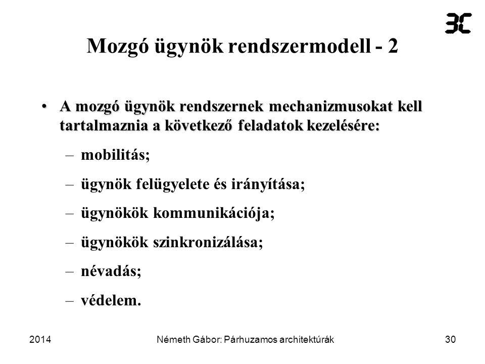 Mozgó ügynök rendszermodell - 2