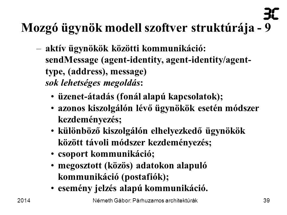 Mozgó ügynök modell szoftver struktúrája - 9