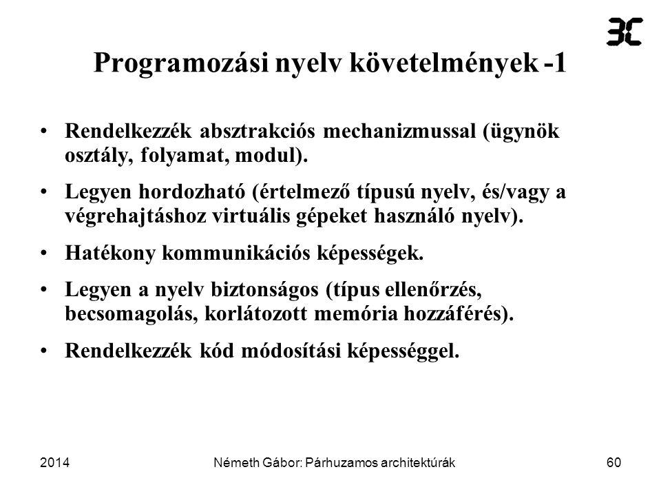 Programozási nyelv követelmények -1