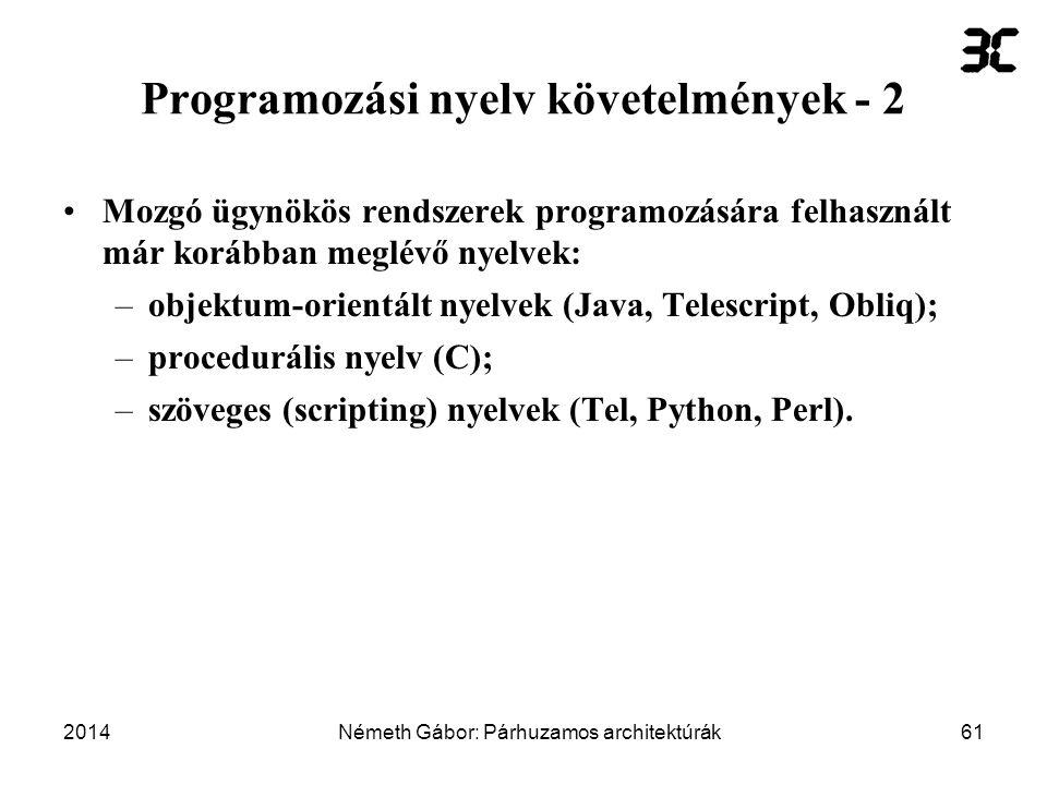 Programozási nyelv követelmények - 2