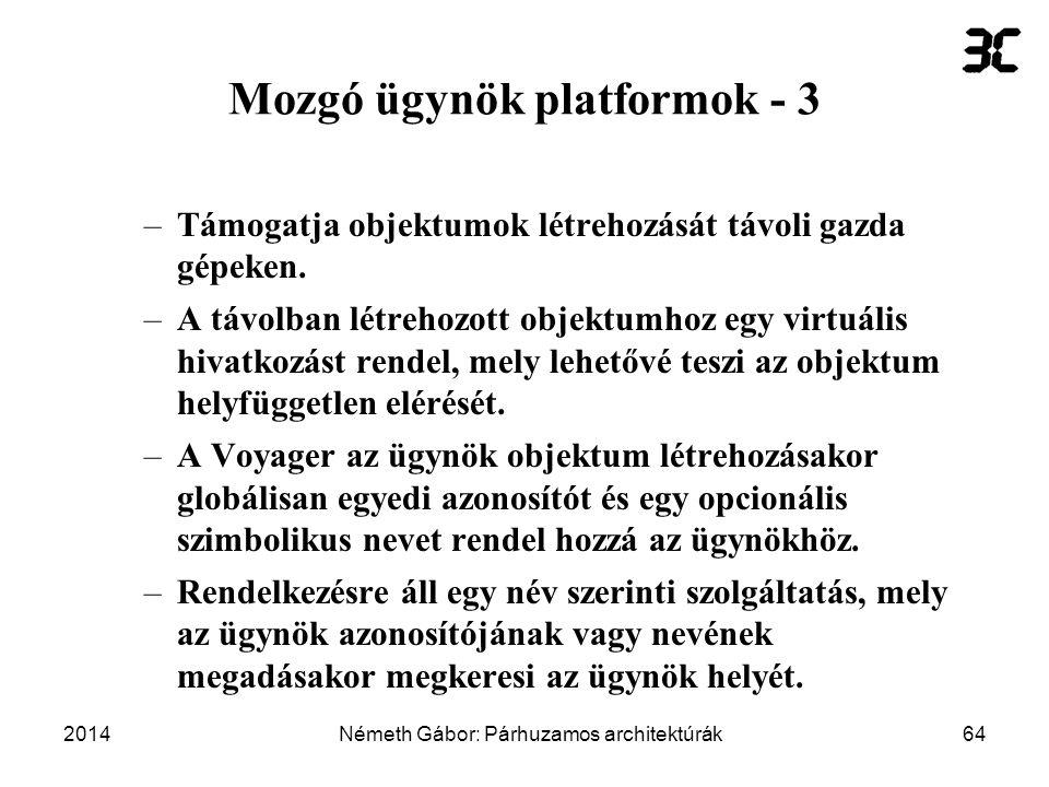 Mozgó ügynök platformok - 3