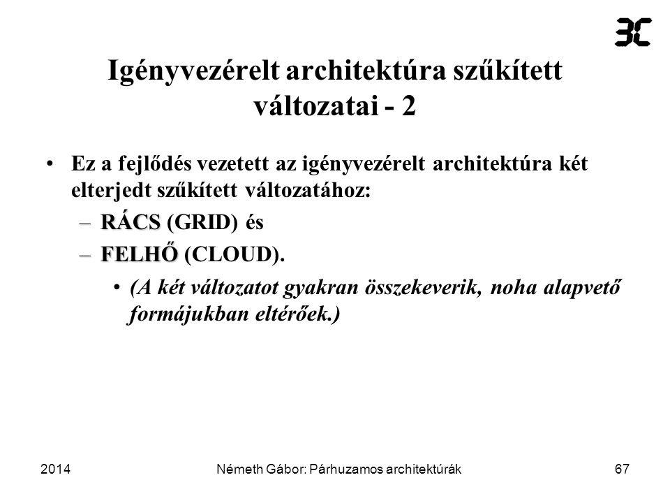 Igényvezérelt architektúra szűkített változatai - 2