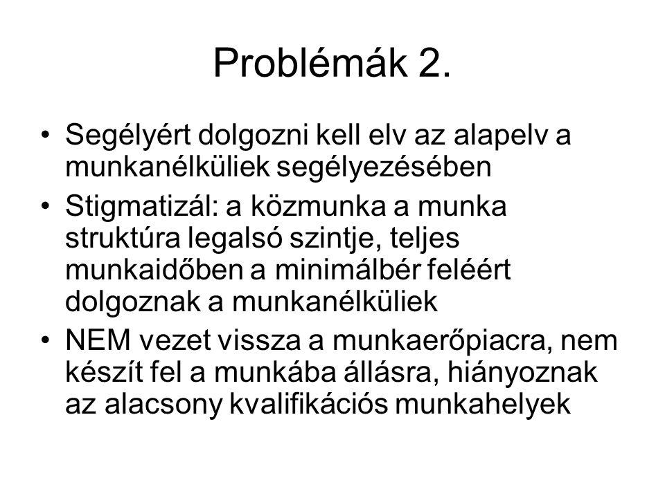 Problémák 2. Segélyért dolgozni kell elv az alapelv a munkanélküliek segélyezésében.