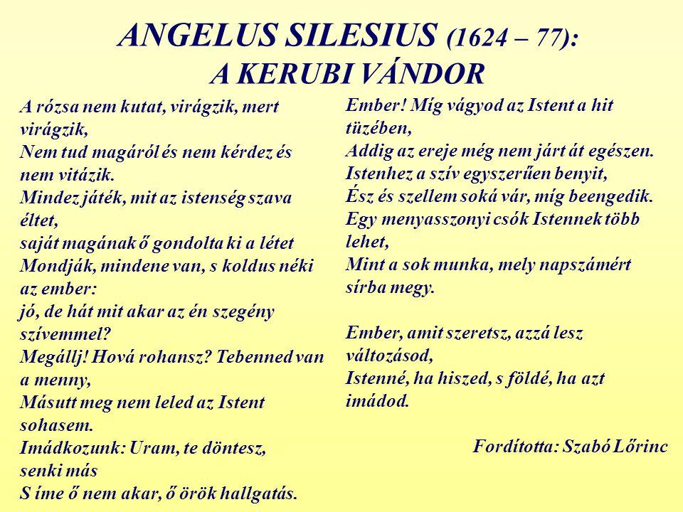 ANGELUS SILESIUS (1624 – 77): A KERUBI VÁNDOR