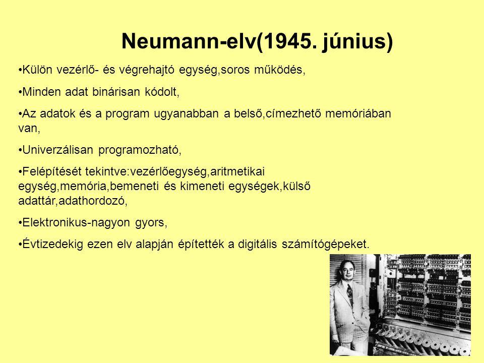 Neumann-elv(1945. június) Külön vezérlő- és végrehajtó egység,soros működés, Minden adat binárisan kódolt,
