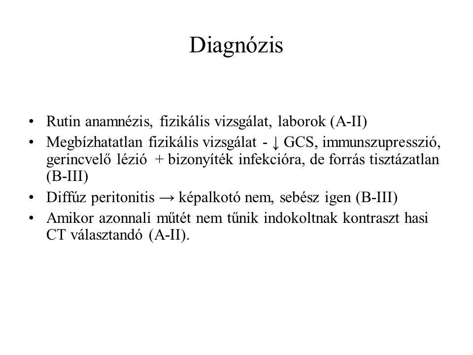Diagnózis Rutin anamnézis, fizikális vizsgálat, laborok (A-II)