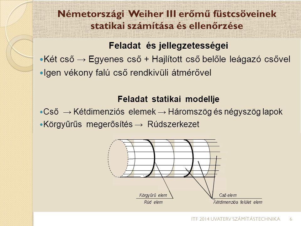 Németországi Weiher III erőmű füstcsöveinek statikai számítása és ellenőrzése