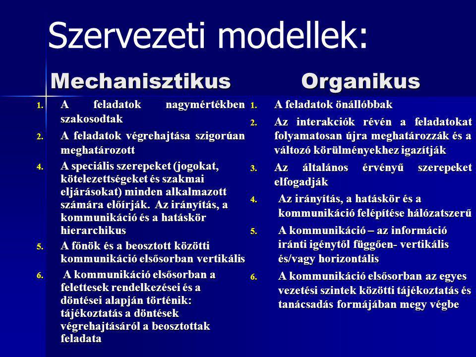 Szervezeti modellek: Mechanisztikus Organikus