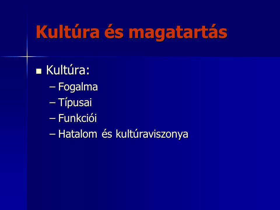 Kultúra és magatartás Kultúra: Fogalma Típusai Funkciói