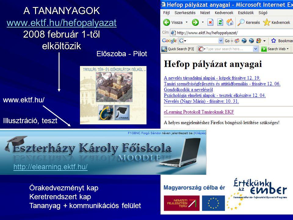 A TANANYAGOK www.ektf.hu/hefopalyazat 2008 február 1-től elköltözik