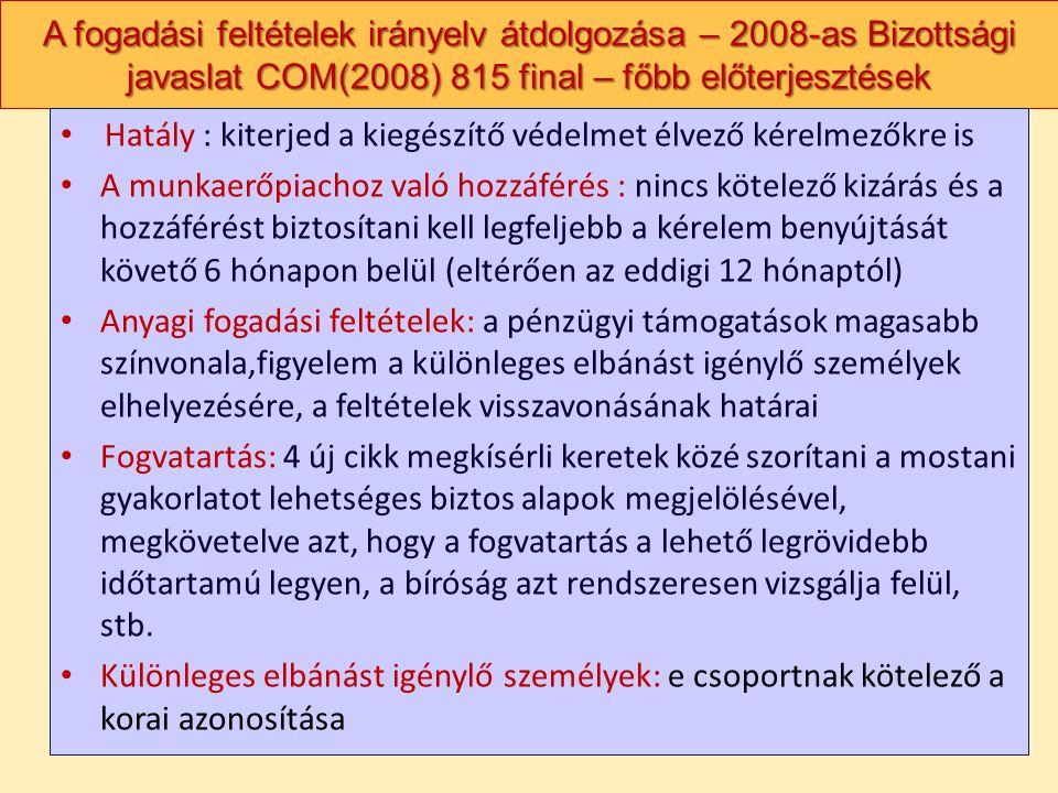 A fogadási feltételek irányelv átdolgozása – 2008-as Bizottsági javaslat COM(2008) 815 final – főbb előterjesztések