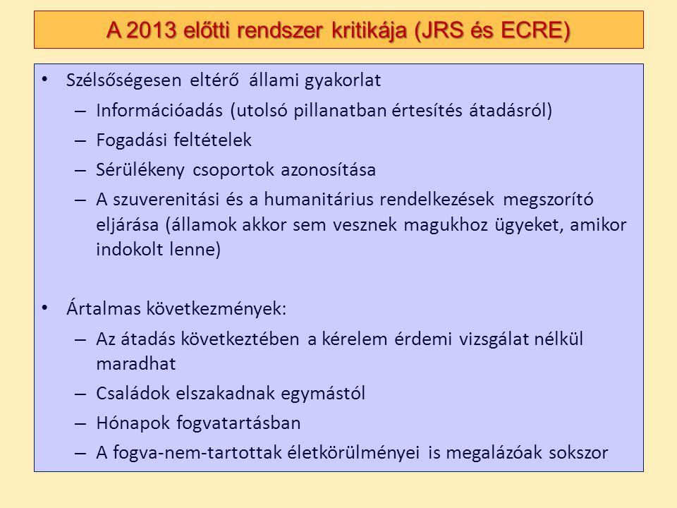 A 2013 előtti rendszer kritikája (JRS és ECRE)
