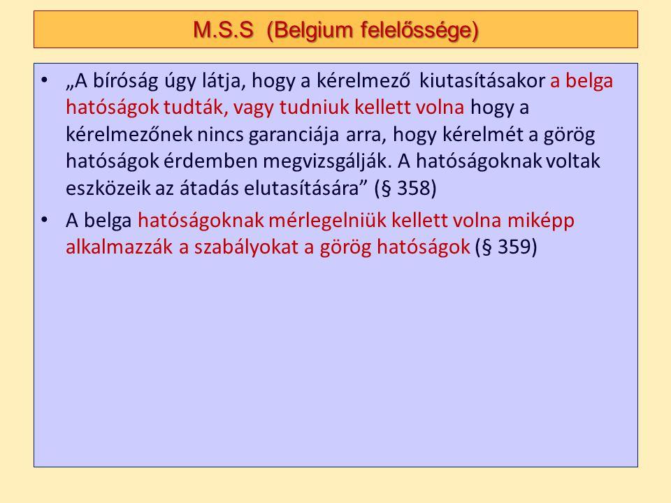 M.S.S (Belgium felelőssége)