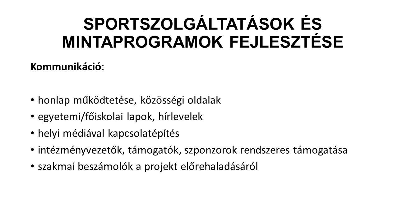 Sportszolgáltatások és mintaprogramok fejlesztésE