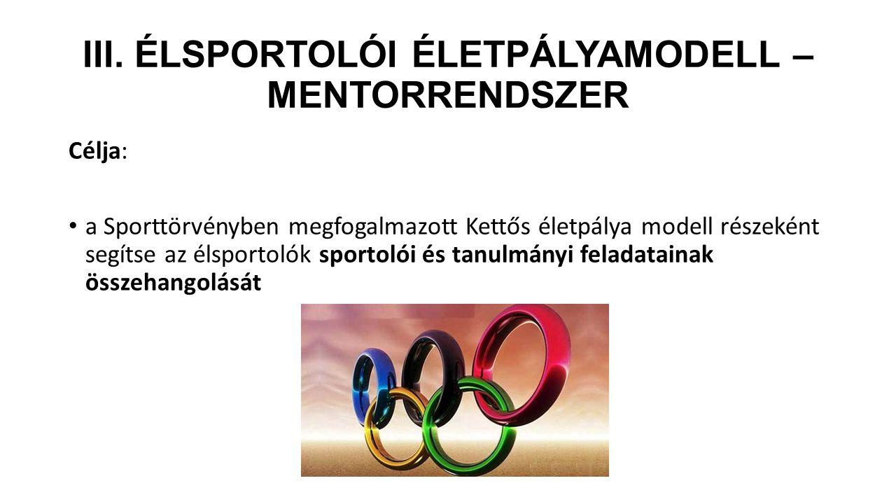 III. Élsportolói életpályamodell – mentorrendszer