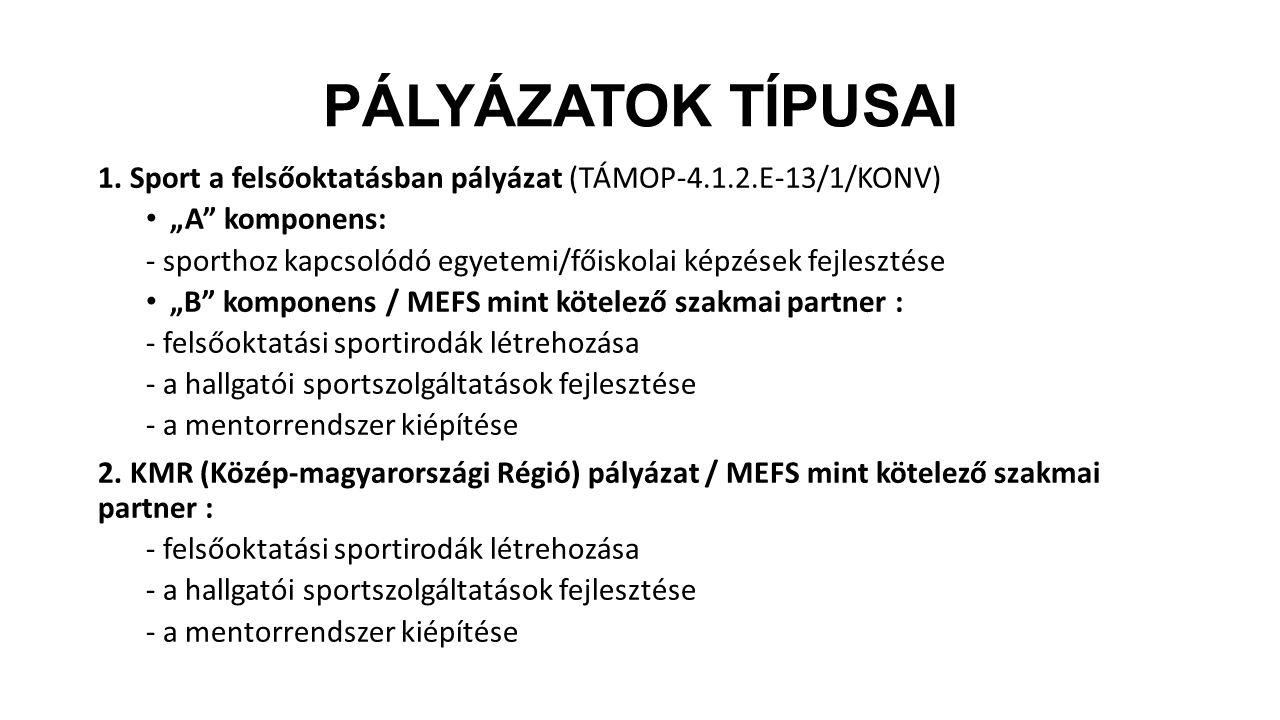 """PÁLYÁZATOK TÍPUSAI 1. Sport a felsőoktatásban pályázat (TÁMOP-4.1.2.E-13/1/KONV) """"A komponens:"""