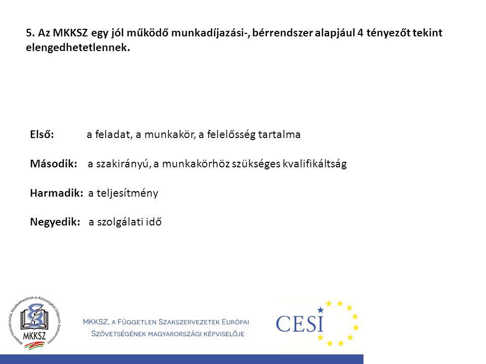 5. Az MKKSZ egy jól működő munkadíjazási-, bérrendszer alapjául 4 tényezőt tekint elengedhetetlennek.