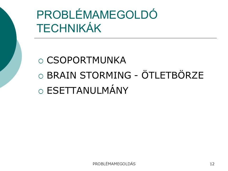 PROBLÉMAMEGOLDÓ TECHNIKÁK