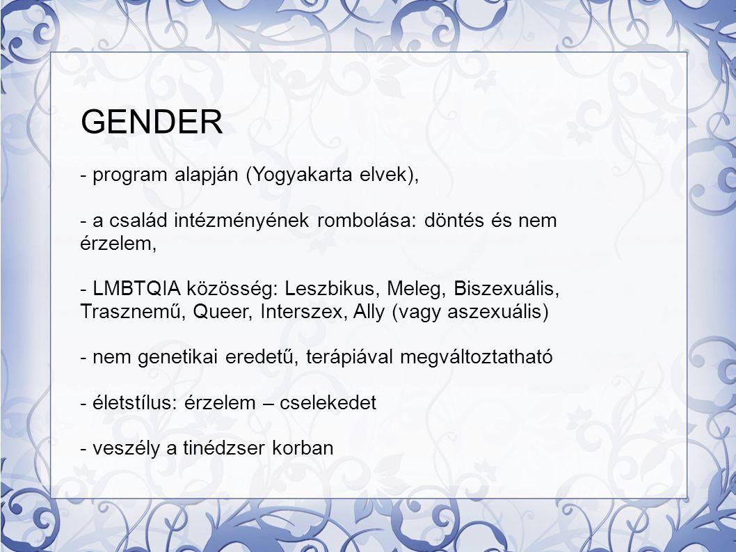 GENDER - program alapján (Yogyakarta elvek),