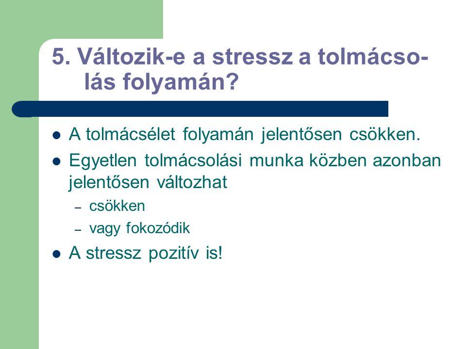 5. Változik-e a stressz a tolmácso- lás folyamán