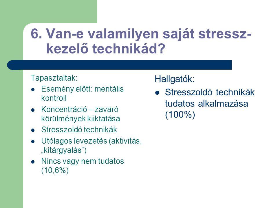 6. Van-e valamilyen saját stressz- kezelő technikád