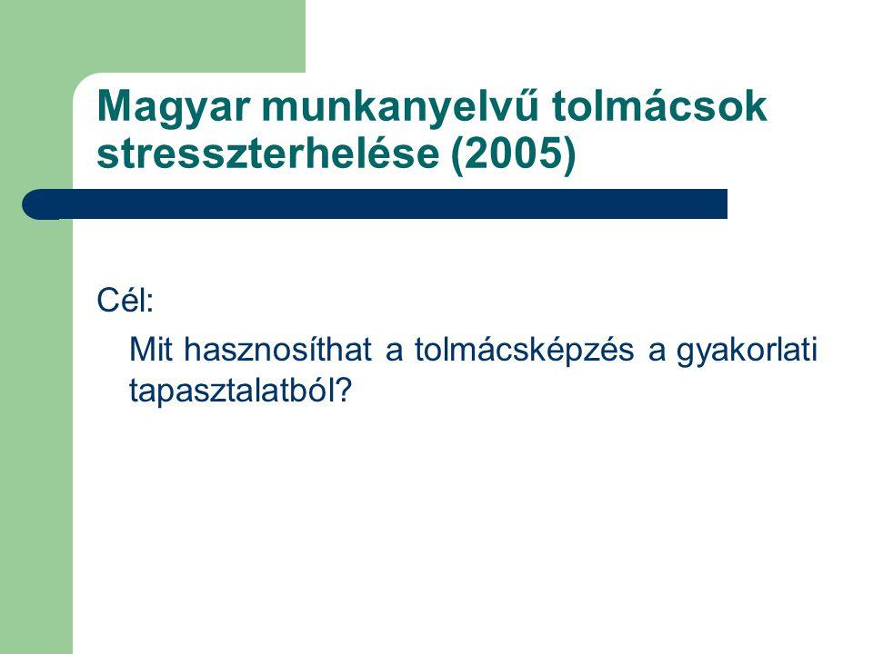 Magyar munkanyelvű tolmácsok stresszterhelése (2005)