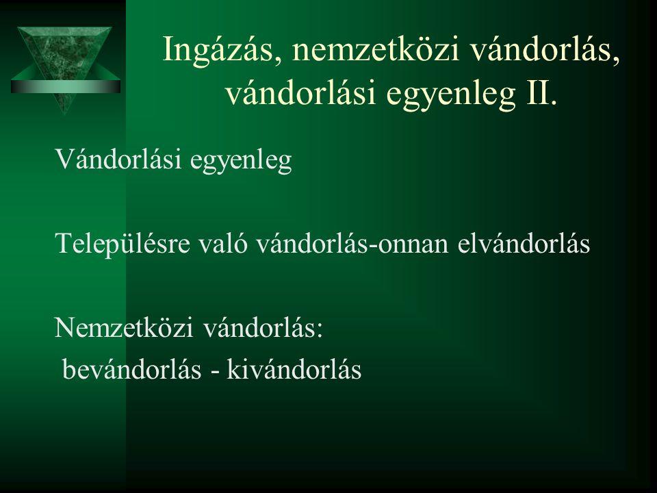 Ingázás, nemzetközi vándorlás, vándorlási egyenleg II.
