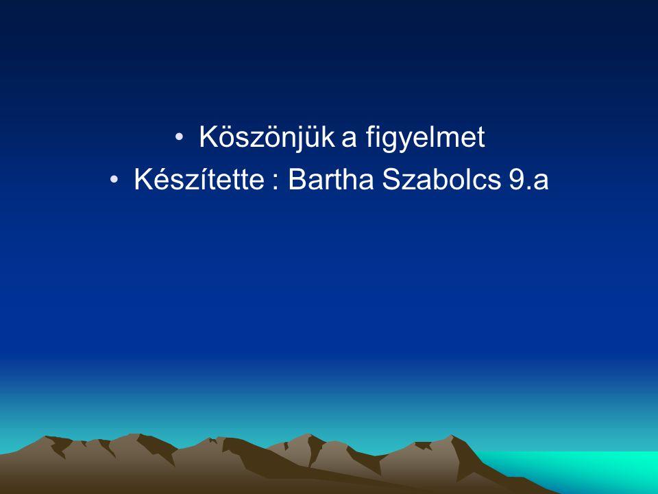 Készítette : Bartha Szabolcs 9.a