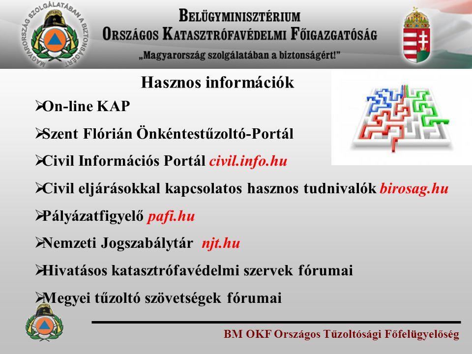 Hasznos információk On-line KAP Szent Flórián Önkéntestűzoltó-Portál
