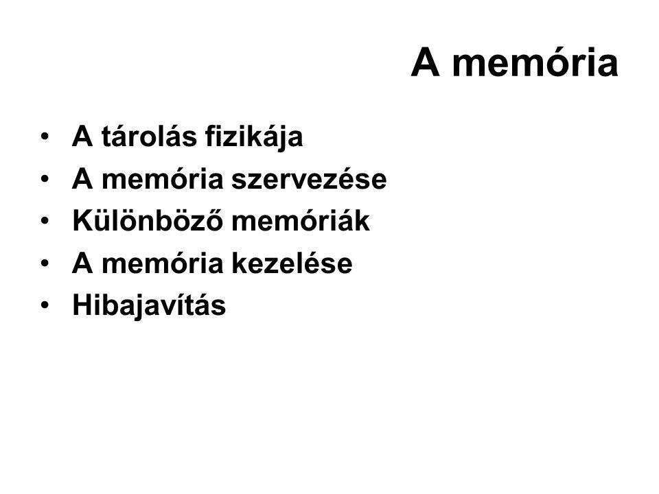 A memória A tárolás fizikája A memória szervezése Különböző memóriák