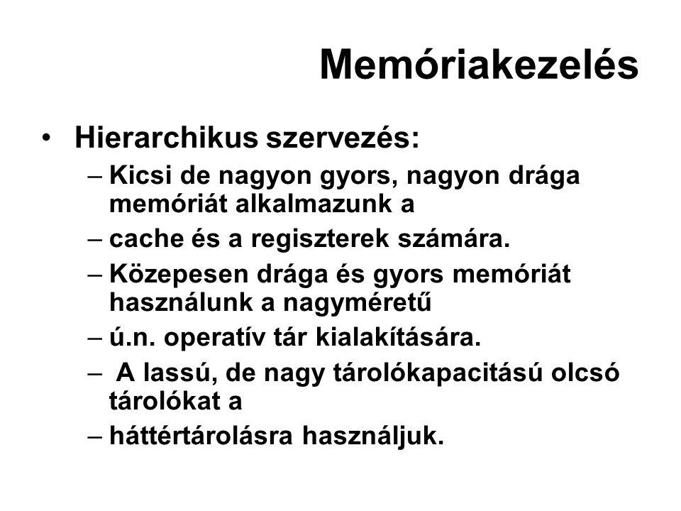 Memóriakezelés Hierarchikus szervezés: