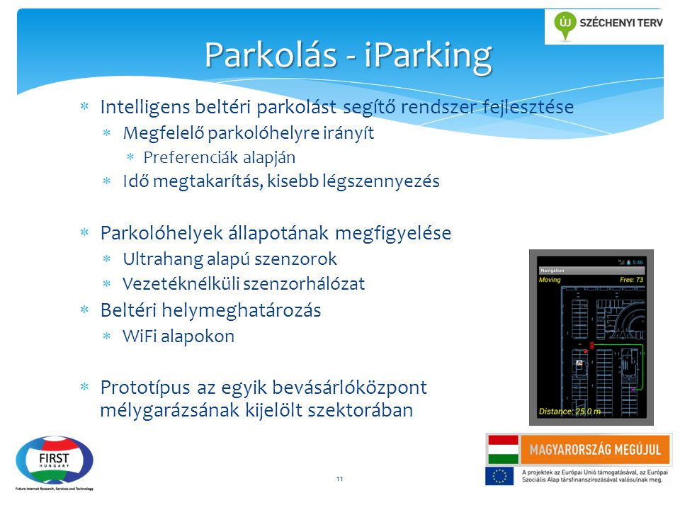 Parkolás - iParking Intelligens beltéri parkolást segítő rendszer fejlesztése. Megfelelő parkolóhelyre irányít.