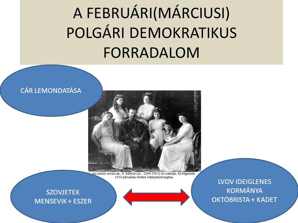 A FEBRUÁRI(MÁRCIUSI) POLGÁRI DEMOKRATIKUS FORRADALOM